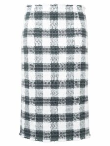 Thom Browne Silk Ribbon Cardigan Pencil Skirt - Grey