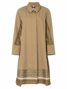 Burberry Scarf detail cotton trench coat - Brown