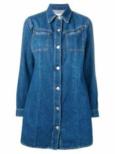 Ganni longsleeved shirt dress - Blue