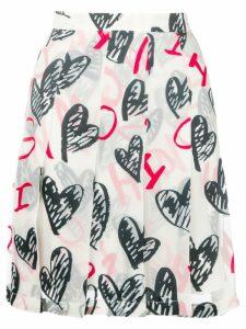 Moschino heart print pleated skirt - White