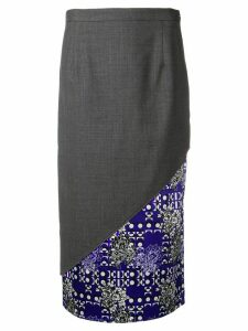 Snow Xue Gao contrasting diagonal panel skirt - Grey