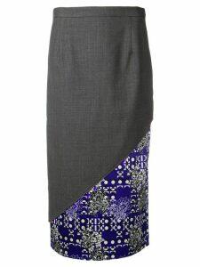 Snow Xue Gao contrasting diagonal panel skirt - Grey