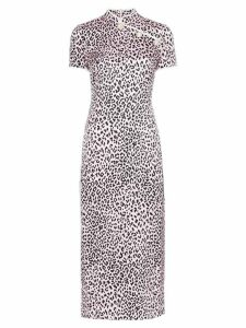 Alessandra Rich Fitted cheetah print silk cheongsam dress - Pink