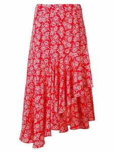 Jovonna floral print asymmetric skirt - Red