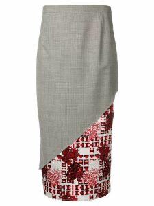 Snow Xue Gao contrast panel long skirt - Black