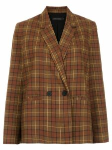 Andrea Marques checked boxy blazer - Brown
