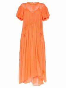 Lee Mathews Emily ruched detail silk maxi dress - Orange