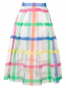 Mira Mikati organza check embroidered skirt - White