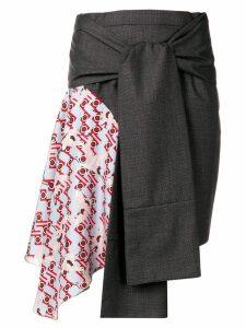 Snow Xue Gao contrast panel asymmetric skirt - Grey