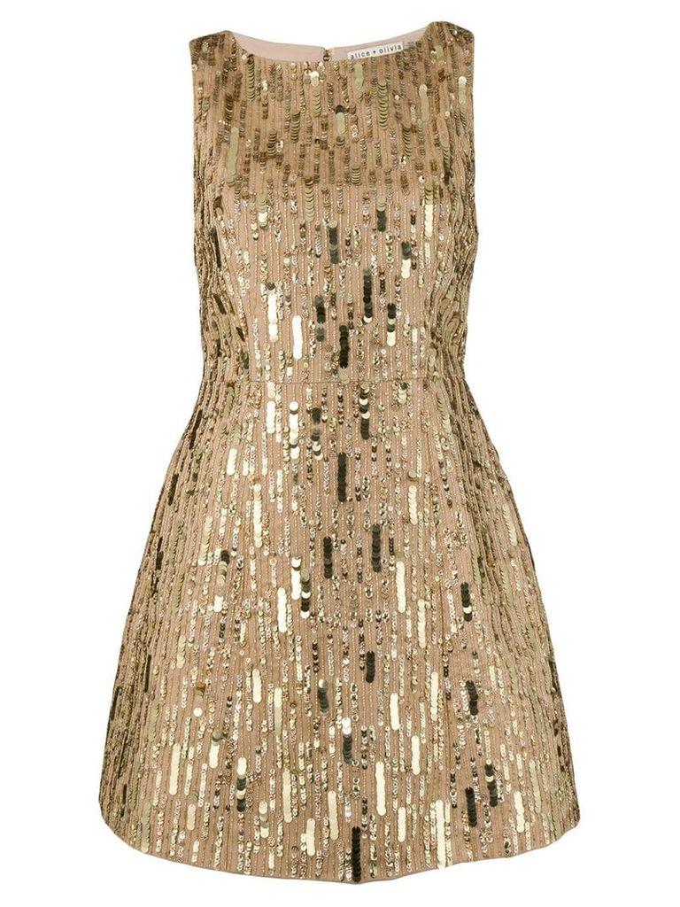 Alice+Olivia sequin embroidered mini dress - Gold