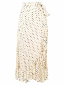 Ganni draped polka dot skirt - Neutrals