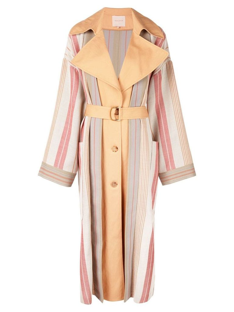 Roksanda striped single-breasted coat - White