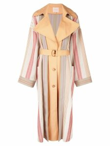 Roksanda striped single-breasted coat - White