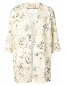 Erika Cavallini floral print open coat - Neutrals