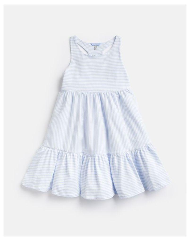 Creme And Blue Stripe 204610 Peplum Frill Dress  Size 4Yr