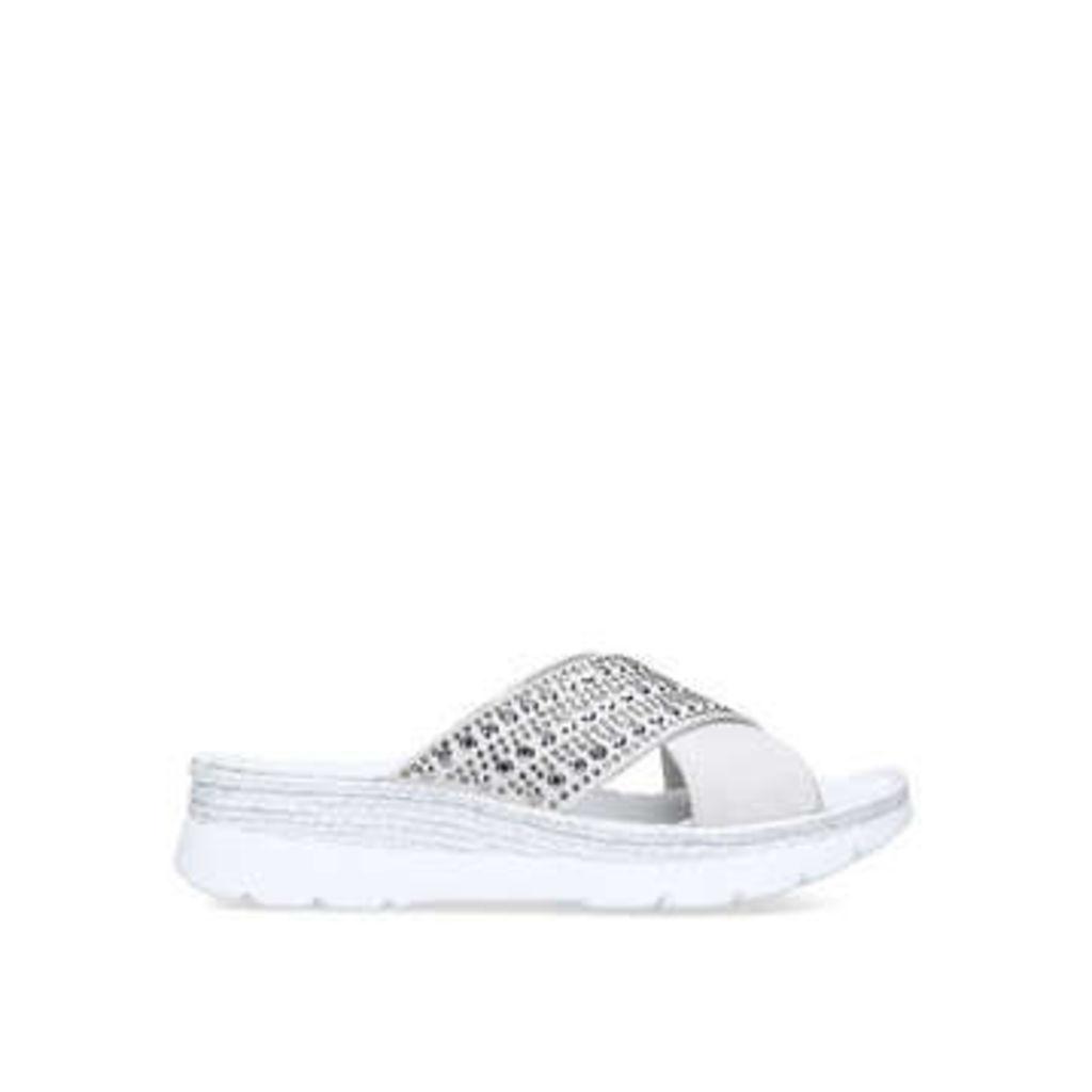 Carvela Comfort Serena - White Studded Chunky Sliders