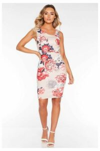 Quiz Stone and Red Floral Asymmetrical Shoulder Midi Dress