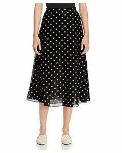 Theory Polka-Dot Silk Skirt