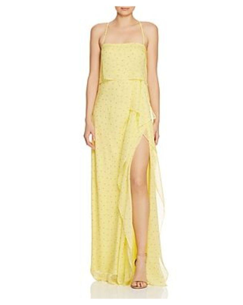 Michelle Mason Dot-Print Silk Gown