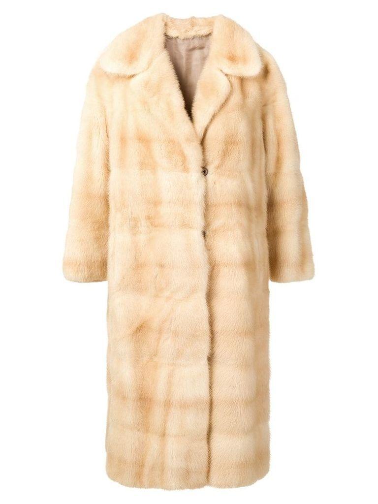 A.N.G.E.L.O. Vintage Cult check texture fur coat - Neutrals
