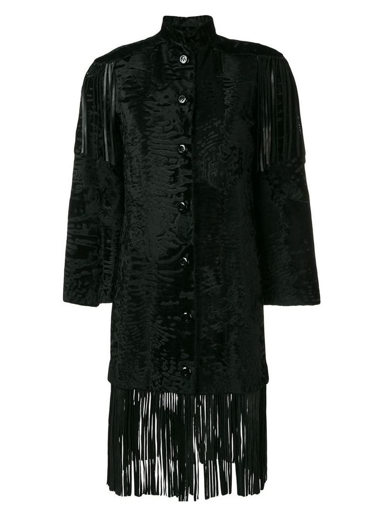 Christian Dior Vintage fringed fur coat - Black