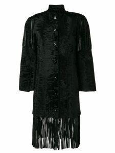 CHRISTIAN DIOR PRE-OWNED fringed fur coat - Black
