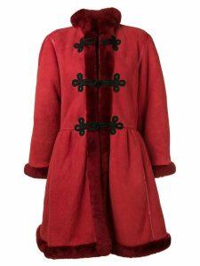 Mario Borsato Vintage fur-trimmed shearling coat - Red