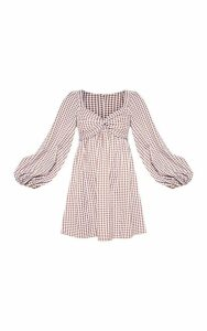 Chocolate Gingham Twist Front Smock Dress, Chocolate