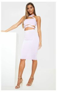 Lilac Slinky Midi Skirt, Purple