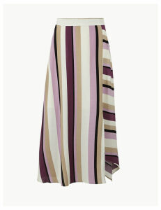 M&S Collection Striped Asymmetric Midi Skirt