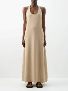 Alessandra Rich - Peplum Crystal Button Wool Blazer - Womens - Navy