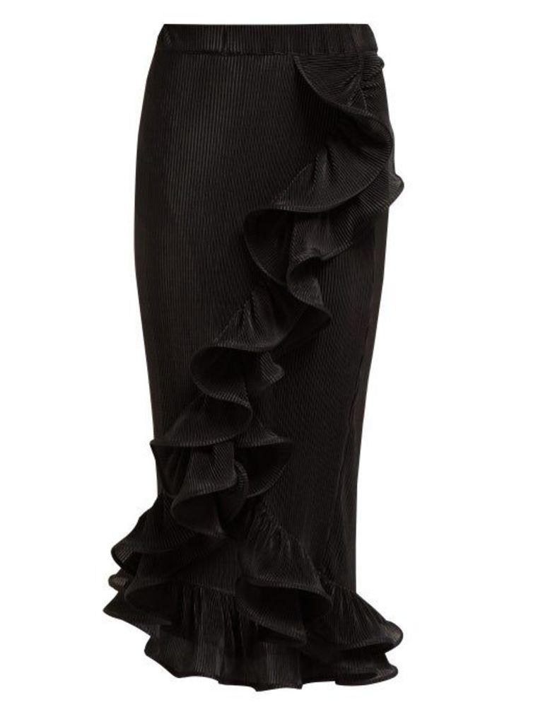 Romance Was Born - Bloom Ruffled Plissé Midi Skirt - Womens - Black