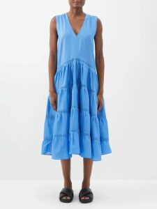 Erdem - Carlita Isabelle Print Cotton Shirtdress - Womens - Burgundy Print