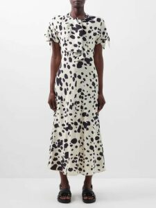 Erdem - Leigh Isabelle-print Tiered Cotton Poplin Skirt - Womens - Blue Print
