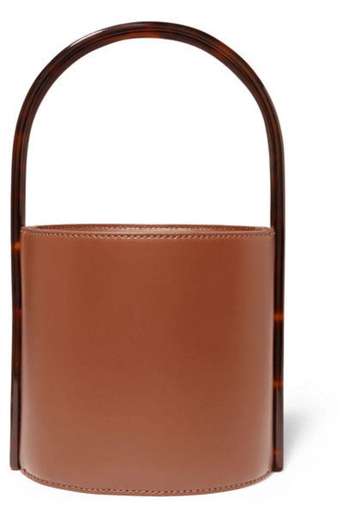 STAUD - Bissett Leather And Tortoiseshell Acrylic Bucket Bag - Tan