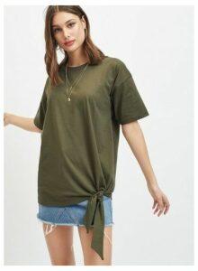Womens Khaki Short Sleeve Tie Side Detail T-Shirt, KHAKI