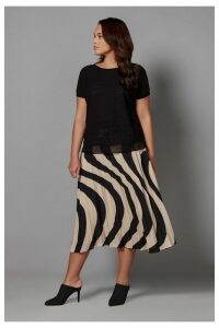 Womens Live Unlimited Black And Stone Wave Print Pleat Skirt -  Black
