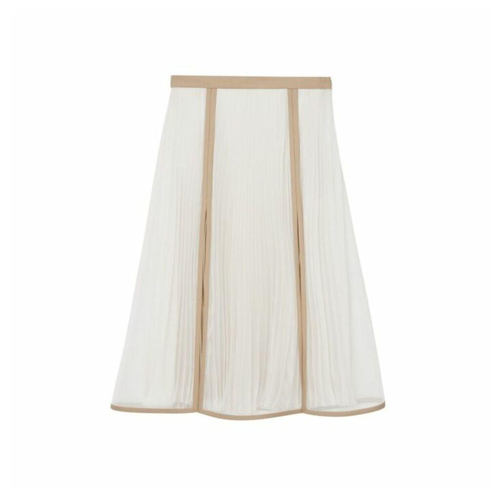 Burberry Chiffon Panel Silk Pleated Skirt