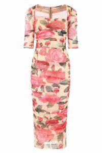 Dolce & Gabbana Rose Print Tulle Dress