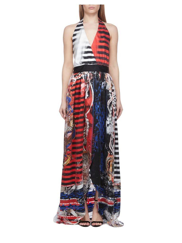 Balmain Mixed Print Halterneck Dress
