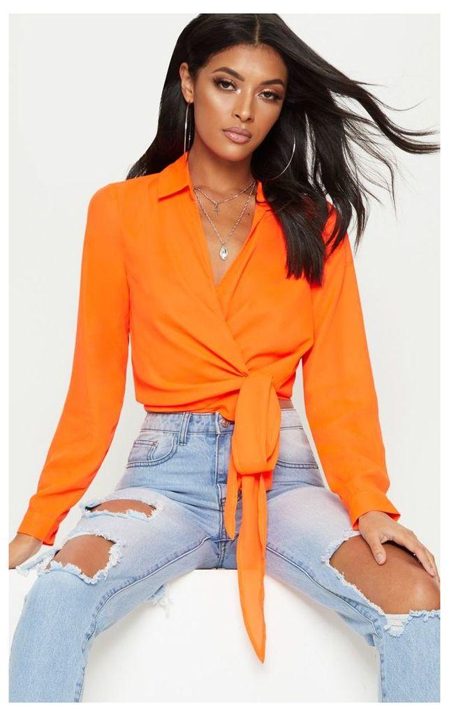 Neon Orange Wrap Front Tie Side Blouse, Orange