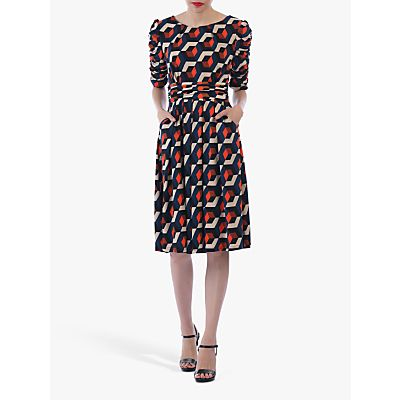 Jolie Moi Geometric Boat Neck Midi Dress
