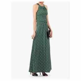 Jolie Moi Geometric Print Halter Neck Maxi Dress, Green/Multi