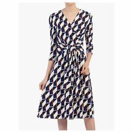 Jolie Moi Wrap Front Belted Dress, Navy/Multi