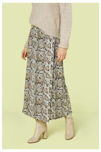 Womens Finery London Multi Rose Snake Print Midi Skirt -  Animal