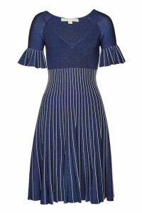 Jonathan Simkhai Metallic Pleats Bell Sleeve Dress