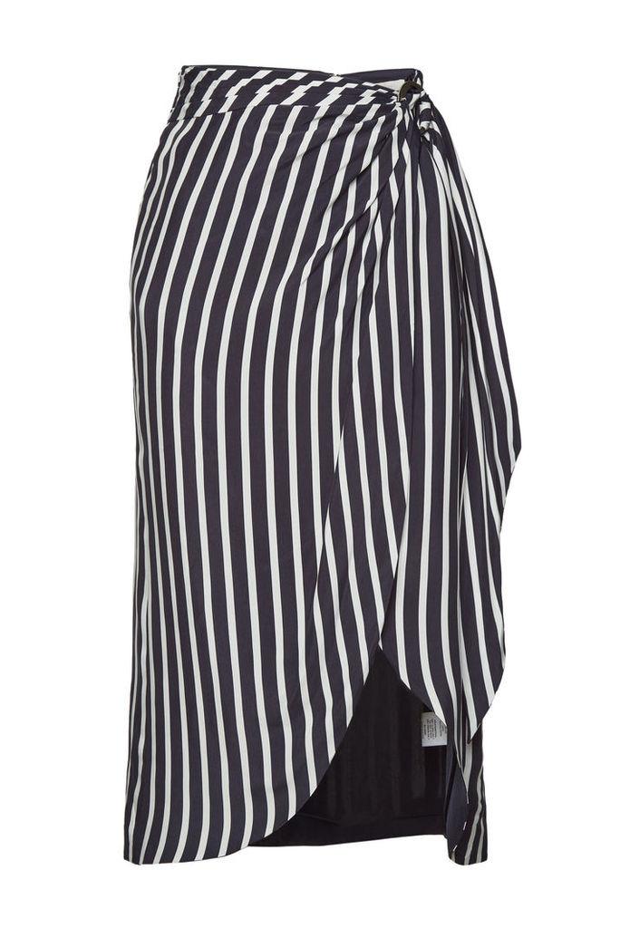 Jonathan Simkhai Multimedia Stripe Wrap Front Skirt