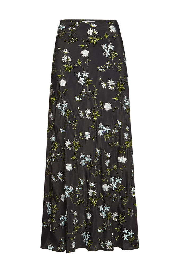 Paco Rabanne Embroidered Midi Skirt with Silk