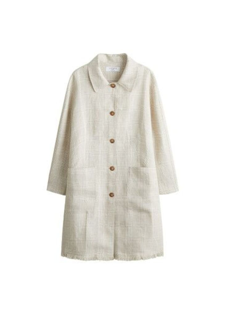 Checkered linen trench