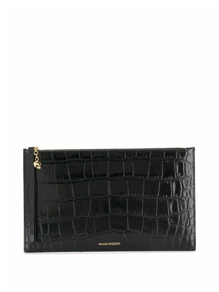 Alexander McQueen crocodile embossed clutch bag - Black